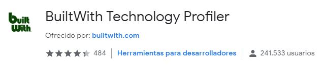 extensión BuiltWith Technology Profiler