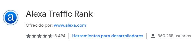 extensión Alexa TRaffic Rank